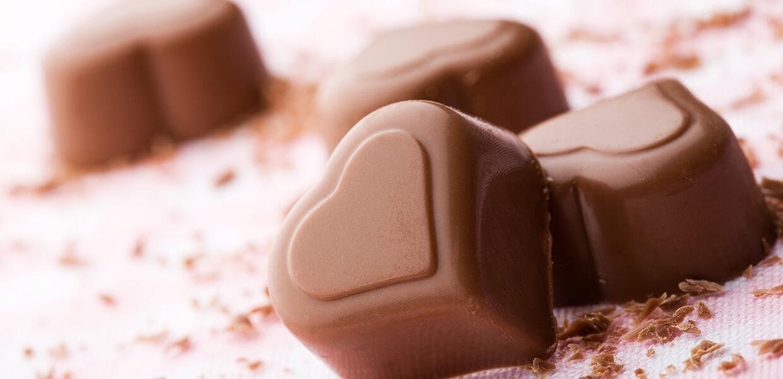 Nougatherzen mit Schokoladeglasur