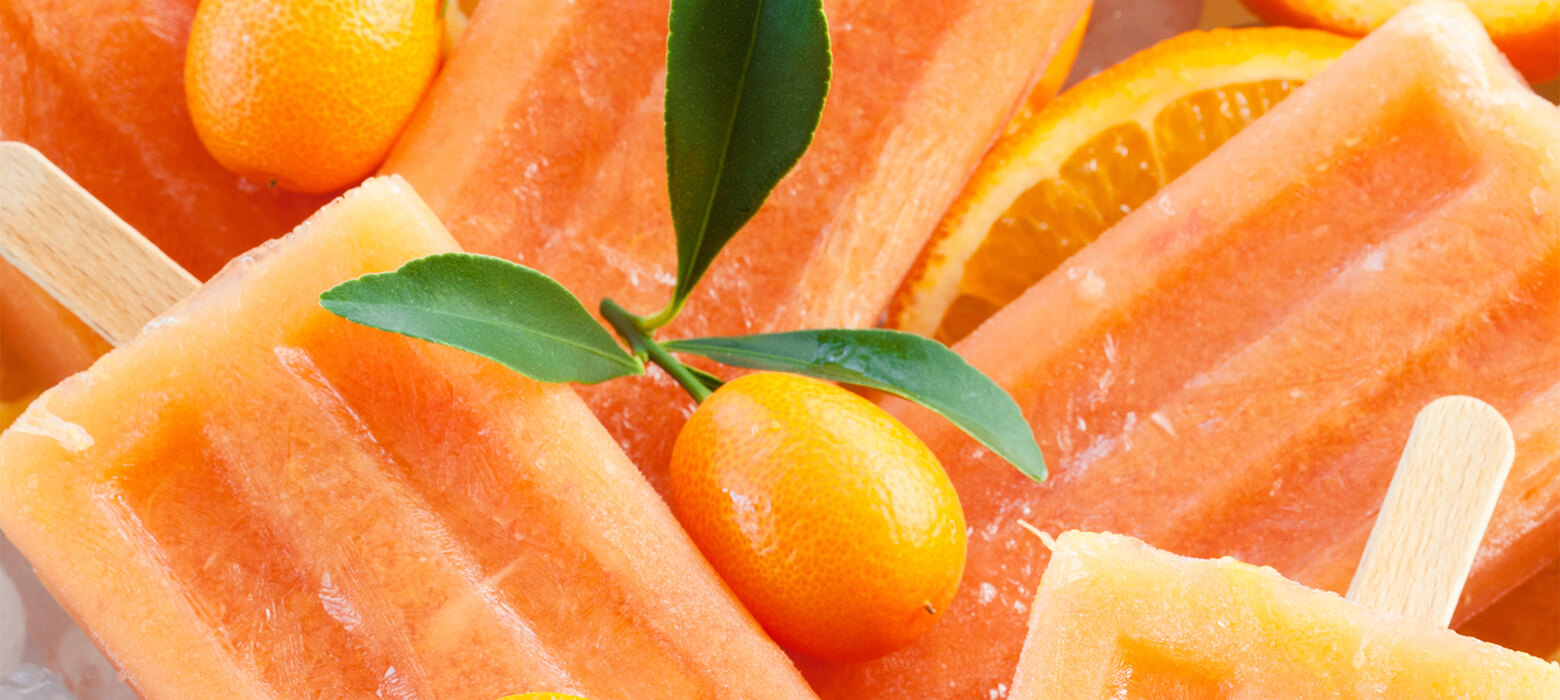 Orangen-Eis am Stiel