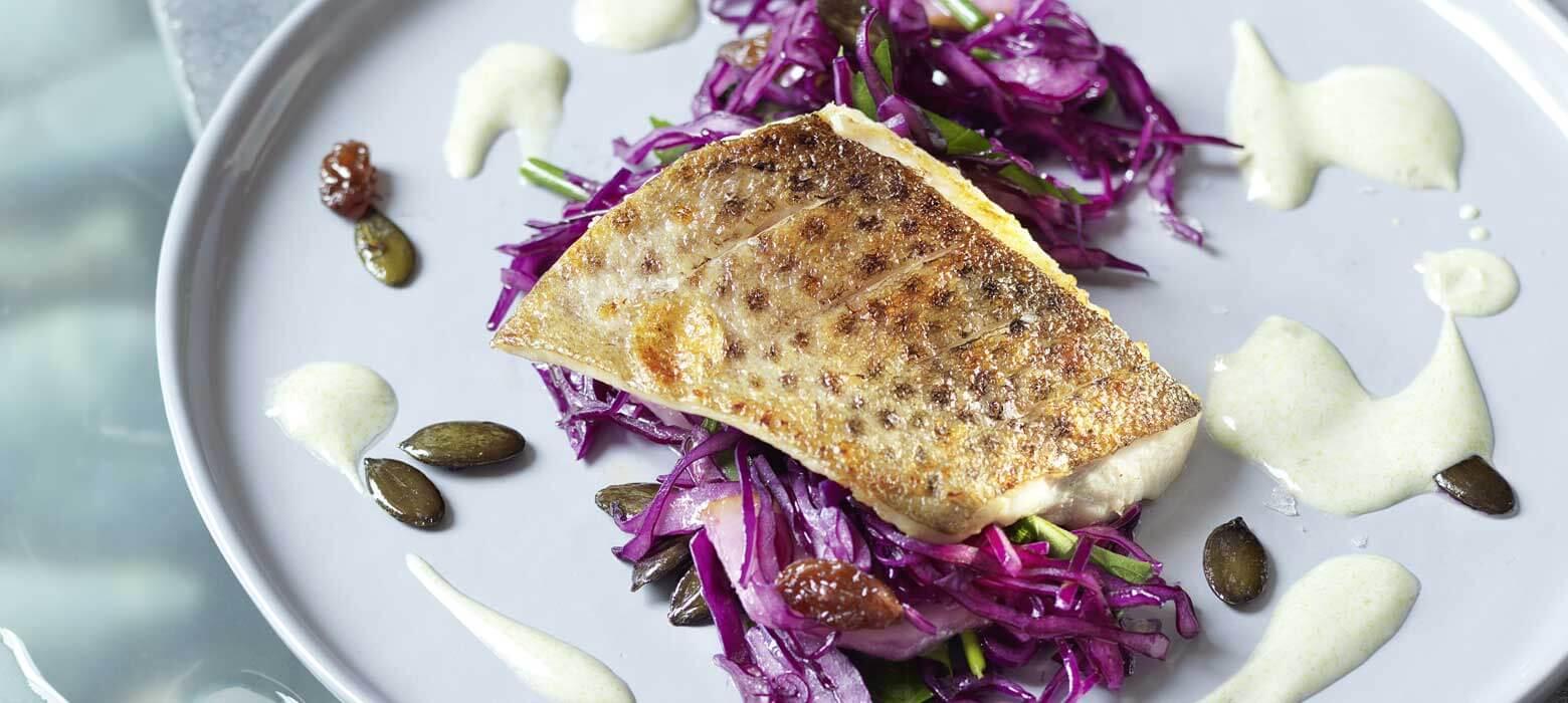 Forelle auf Sägemehl geräuchert, mit Rotkrautsalat