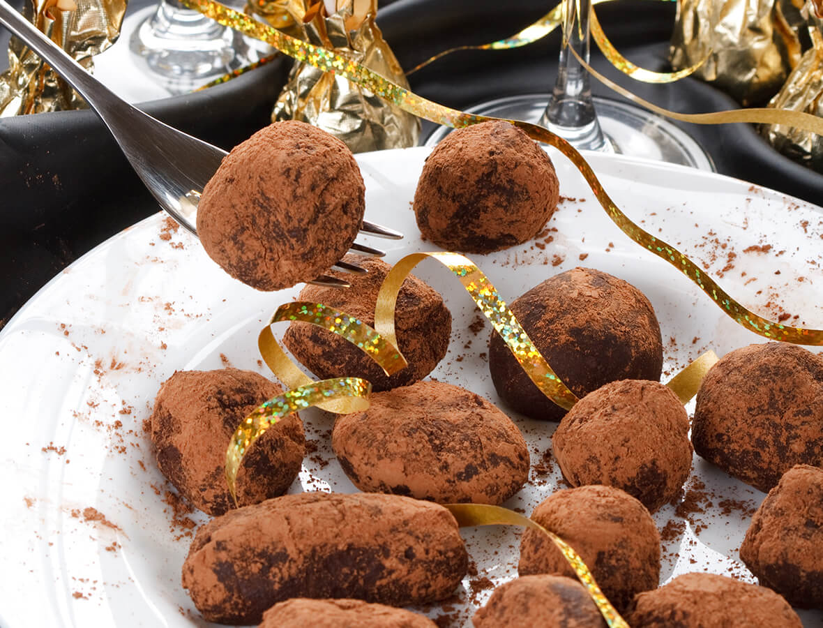 Champagner-Trüffel mit Kakao
