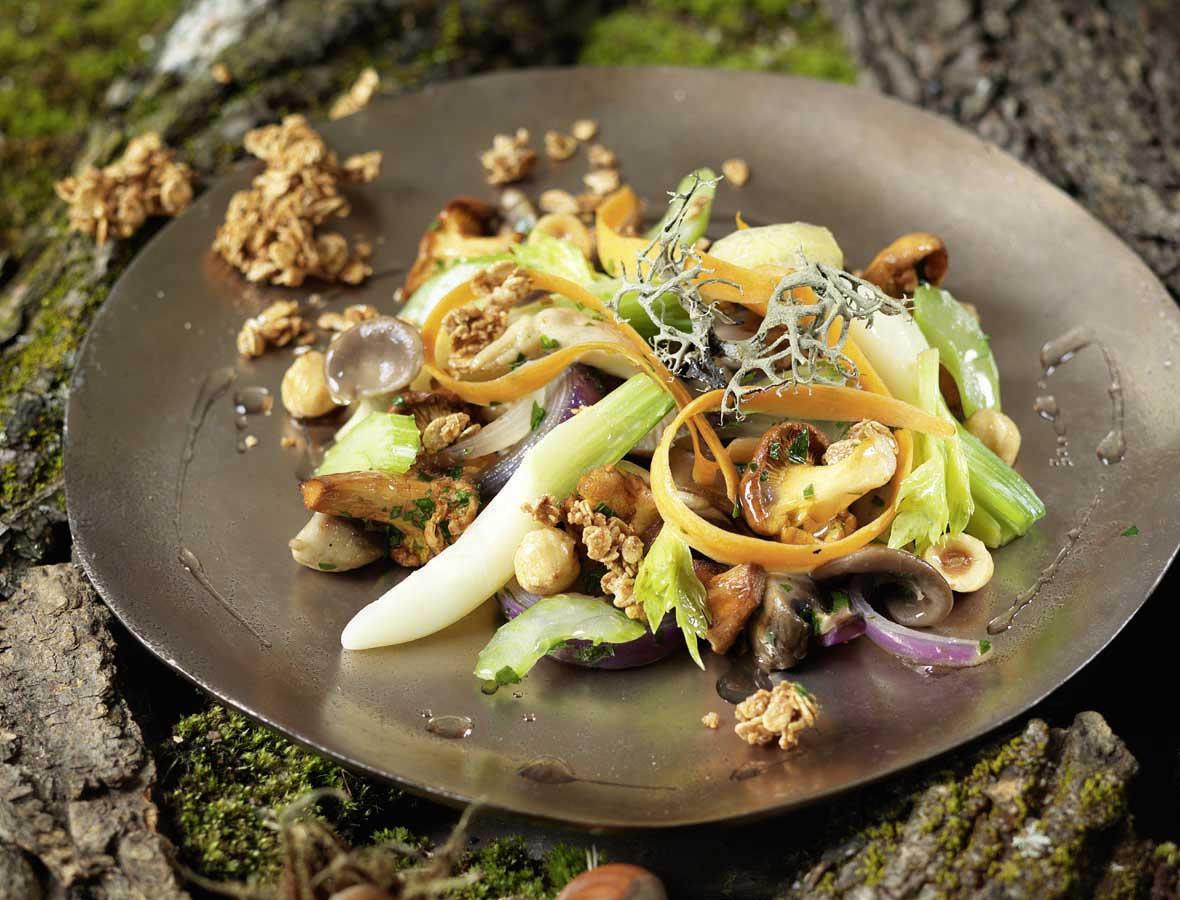 Schwammerlsalat mit Wurzelgemüse